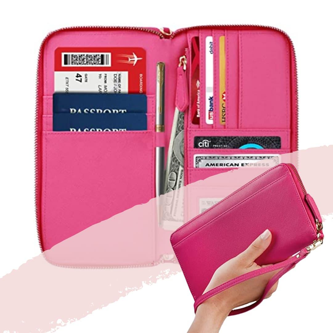 Cartera de viaje familiar y estuche para pasaportes